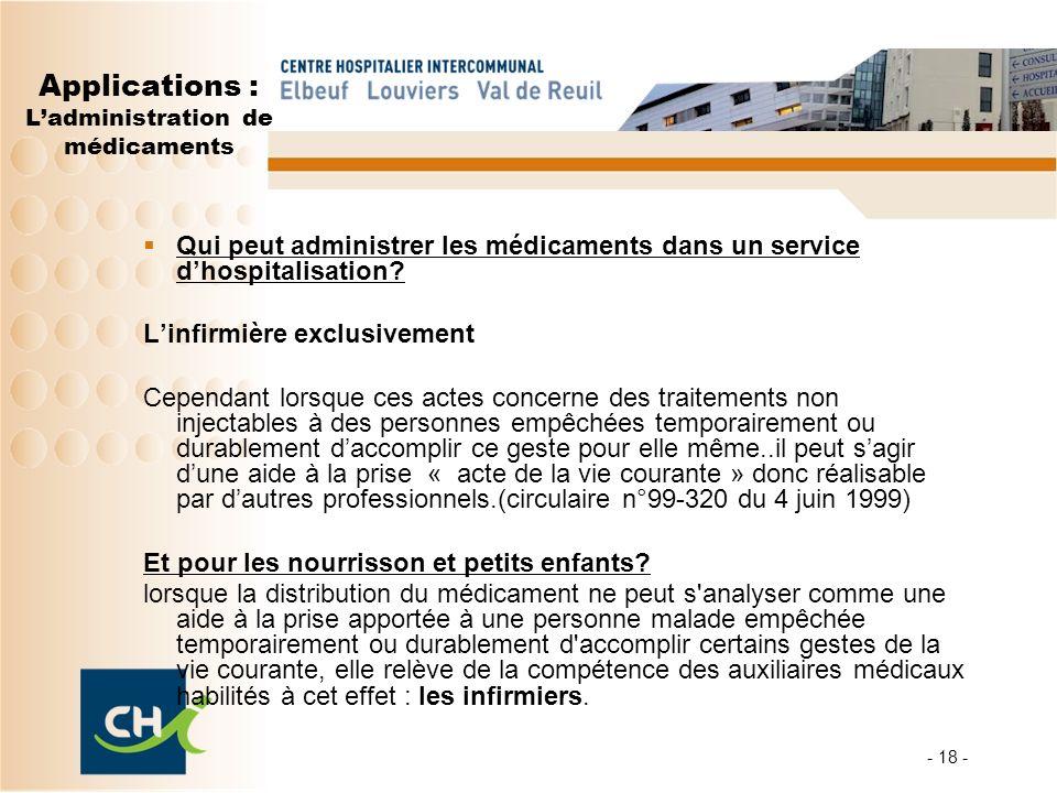Applications : Ladministration de médicaments Qui peut administrer les médicaments dans un service dhospitalisation? Linfirmière exclusivement Cependa