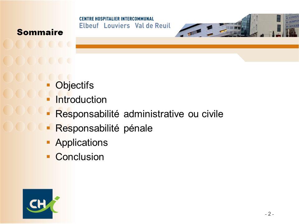 Les objectifs : Rappeler les notions essentielles du droit Mieux comprendre les responsabilités de chacun : Ladministration des soins, la surveillance dun patient, lorganisation dun service hospitalier..
