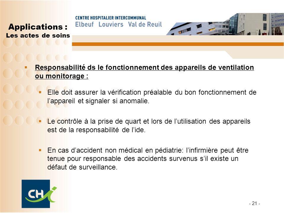 - 21 - Applications : Les actes de soins Responsabilité ds le fonctionnement des appareils de ventilation ou monitorage : Elle doit assurer la vérific