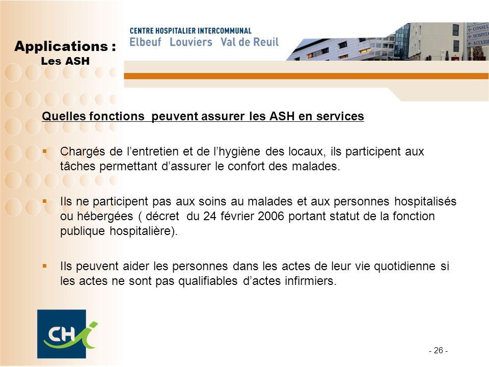 - 26 - Applications : Les ASH Quelles fonctions peuvent assurer les ASH en services Chargés de lentretien et de lhygiène des locaux, ils participent aux tâches permettant dassurer le confort des malades.