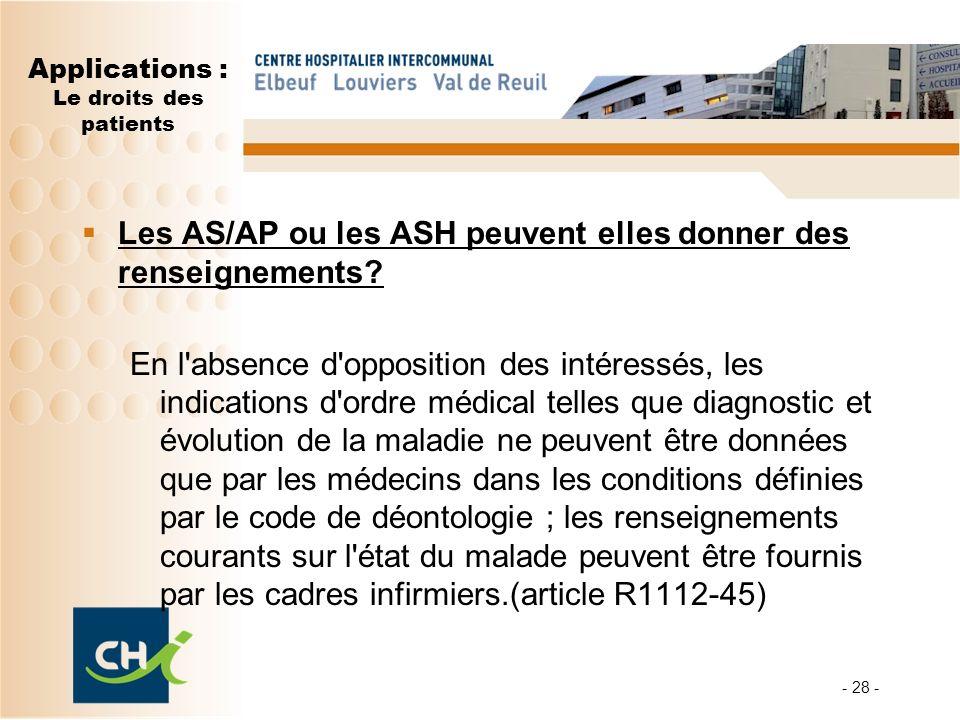 - 28 - Applications : Le droits des patients Les AS/AP ou les ASH peuvent elles donner des renseignements? En l'absence d'opposition des intéressés, l