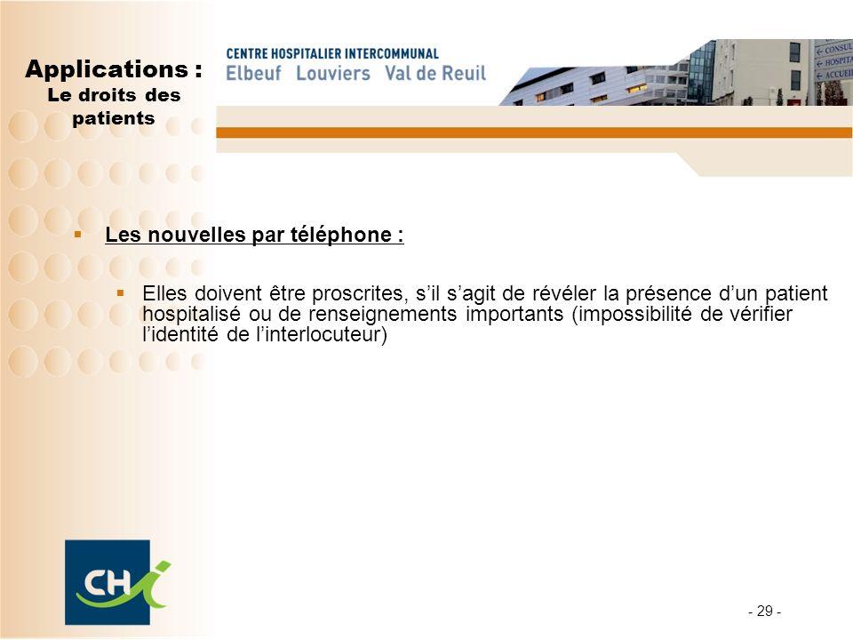 - 29 - Applications : Le droits des patients Les nouvelles par téléphone : Elles doivent être proscrites, sil sagit de révéler la présence dun patient