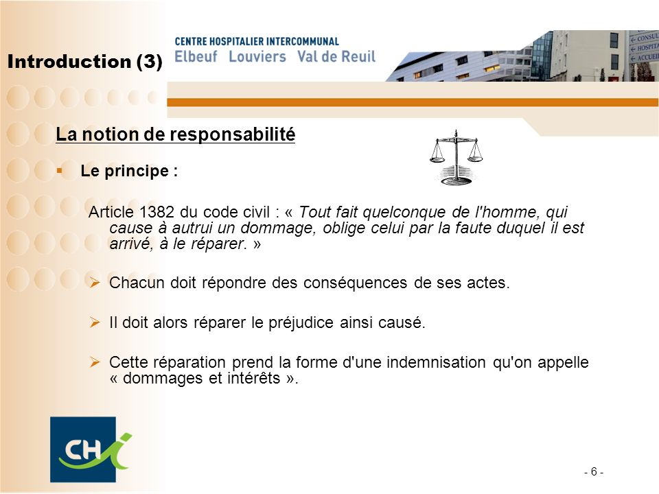 Introduction (3) La notion de responsabilité Le principe : Article 1382 du code civil : « Tout fait quelconque de l'homme, qui cause à autrui un domma
