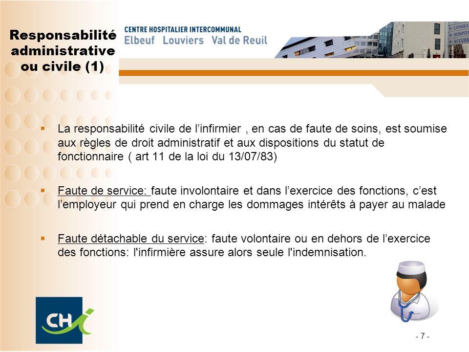 - 7 - Responsabilité administrative ou civile (1) La responsabilité civile de linfirmier, en cas de faute de soins, est soumise aux règles de droit ad