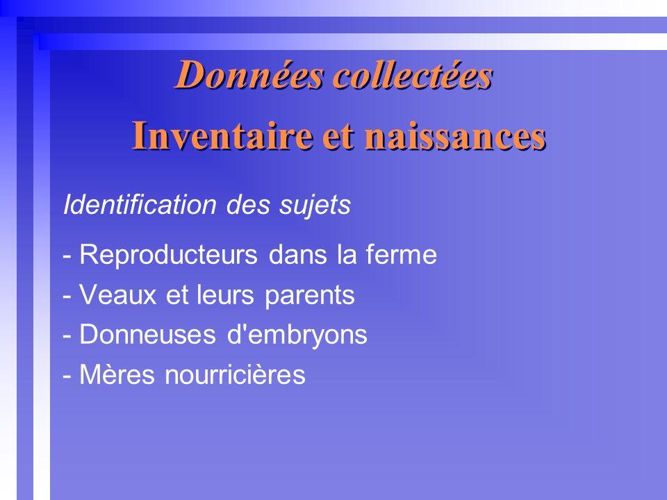 Données collectées - Reproducteurs dans la ferme - Veaux et leurs parents - Donneuses d embryons - Mères nourricières Inventaire et naissances Identification des sujets