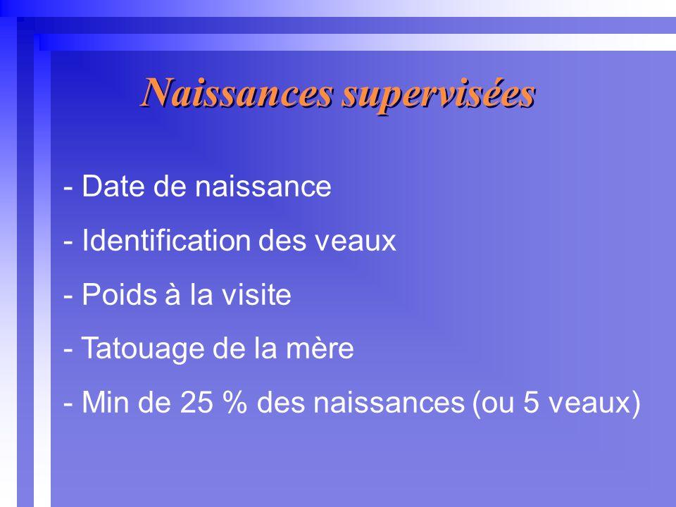 - Date de naissance - Identification des veaux - Poids à la visite - Tatouage de la mère - Min de 25 % des naissances (ou 5 veaux) Naissances supervisées