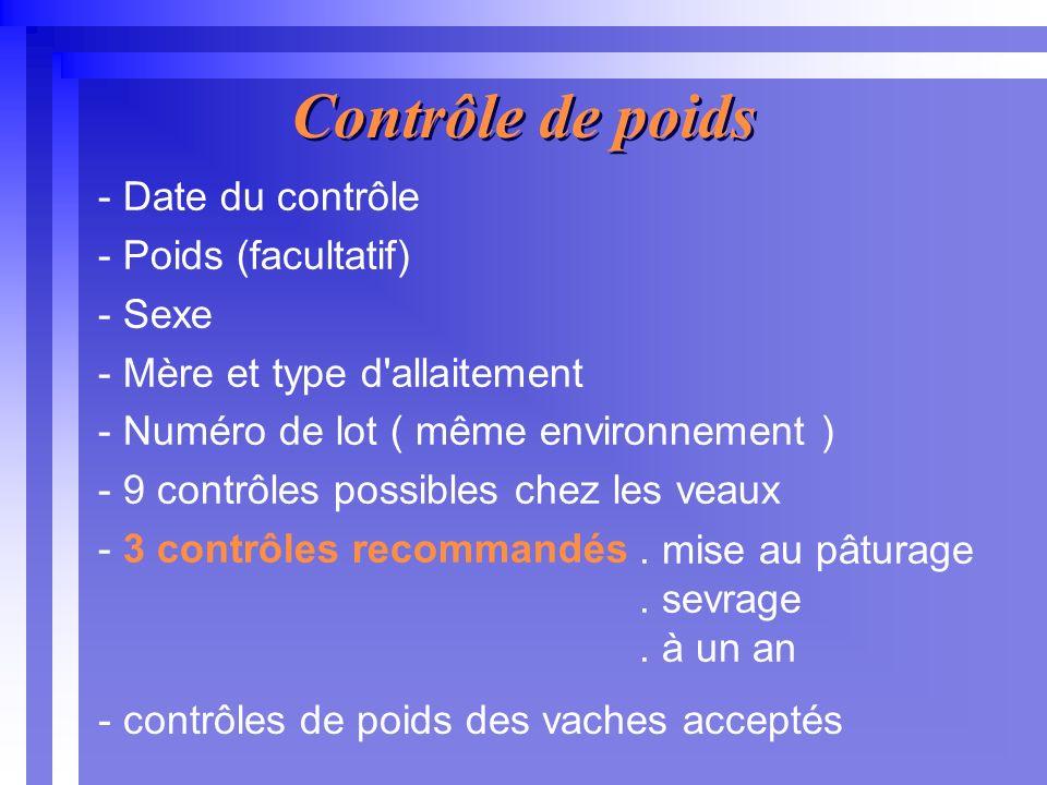 - Date du contrôle - Poids (facultatif) - Sexe - Mère et type d allaitement - Numéro de lot ( même environnement ) - 9 contrôles possibles chez les veaux - 3 contrôles recommandés Contrôle de poids.