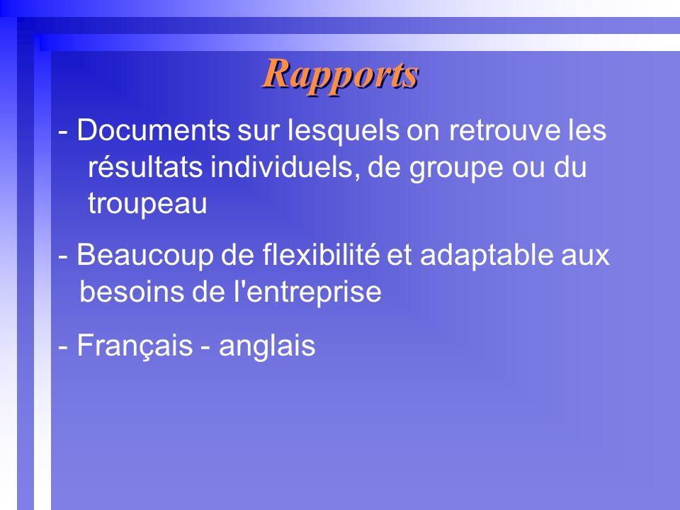 Rapports - Documents sur lesquels on retrouve les résultats individuels, de groupe ou du troupeau - Beaucoup de flexibilité et adaptable aux besoins de l entreprise - Français - anglais