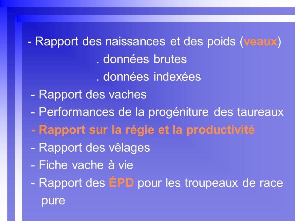 - Rapport des naissances et des poids (veaux). données brutes.