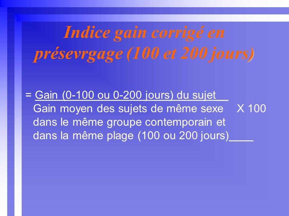 ) Indice gain corrigé en présevrgage (100 et 200 jours) = Gain (0-100 ou 0-200 jours) du sujet__ Gain moyen des sujets de même sexe X 100 dans le même groupe contemporain et dans la même plage (100 ou 200 jours)