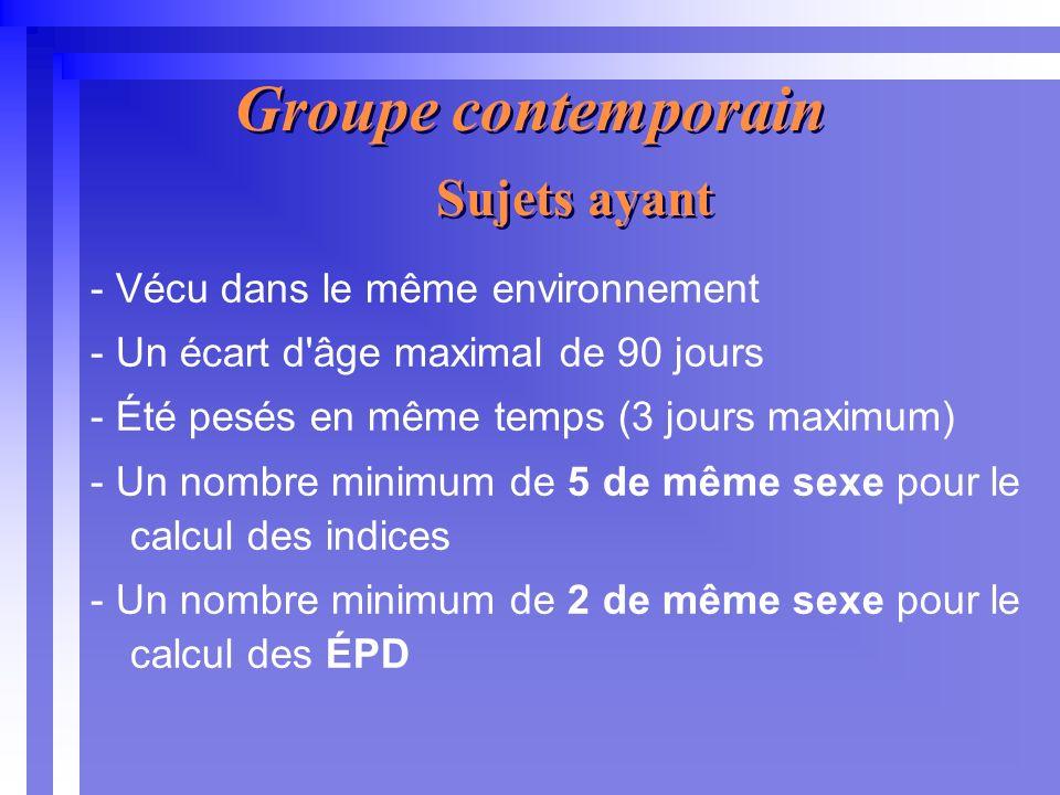 Groupe contemporain - Vécu dans le même environnement - Un écart d âge maximal de 90 jours - Été pesés en même temps (3 jours maximum) - Un nombre minimum de 5 de même sexe pour le calcul des indices - Un nombre minimum de 2 de même sexe pour le calcul des ÉPD Sujets ayant