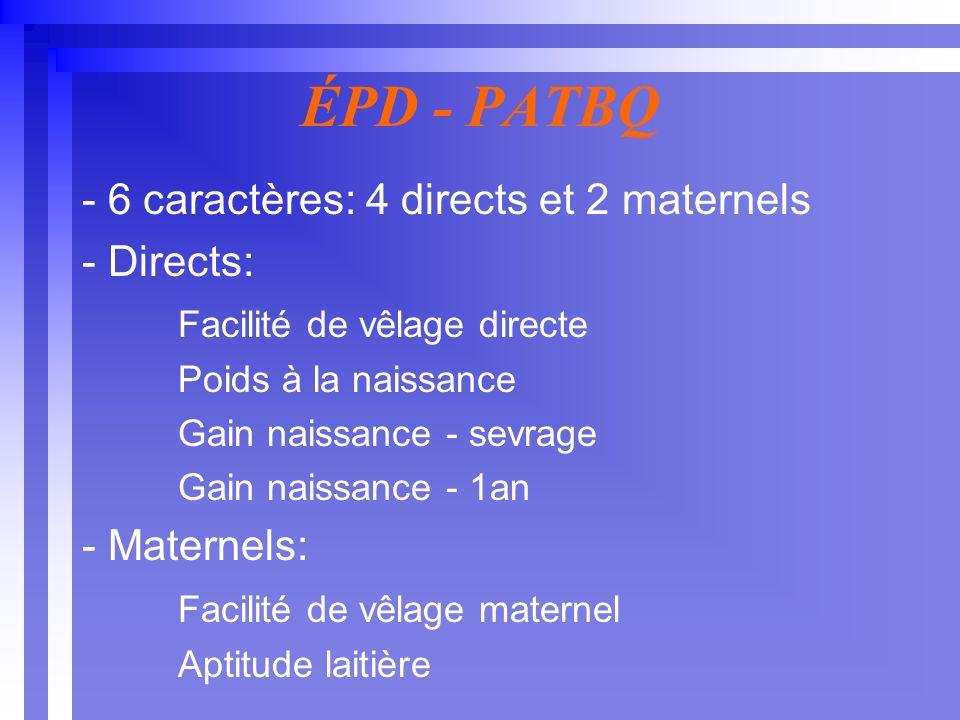 ÉPD - PATBQ - 6 caractères: 4 directs et 2 maternels - Directs: Facilité de vêlage directe Poids à la naissance Gain naissance - sevrage Gain naissance - 1an - Maternels: Facilité de vêlage maternel Aptitude laitière