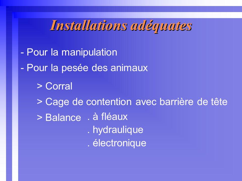 - Pour la manipulation - Pour la pesée des animaux Installations adéquates > Corral > Cage de contention avec barrière de tête > Balance.