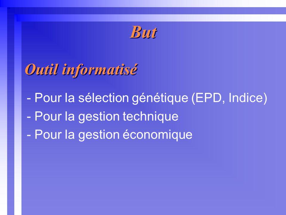But - Pour la sélection génétique (EPD, Indice) - Pour la gestion technique - Pour la gestion économique Outil informatisé