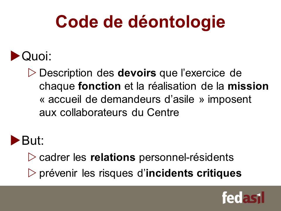 Code de déontologie Quoi: Description des devoirs que lexercice de chaque fonction et la réalisation de la mission « accueil de demandeurs dasile » im