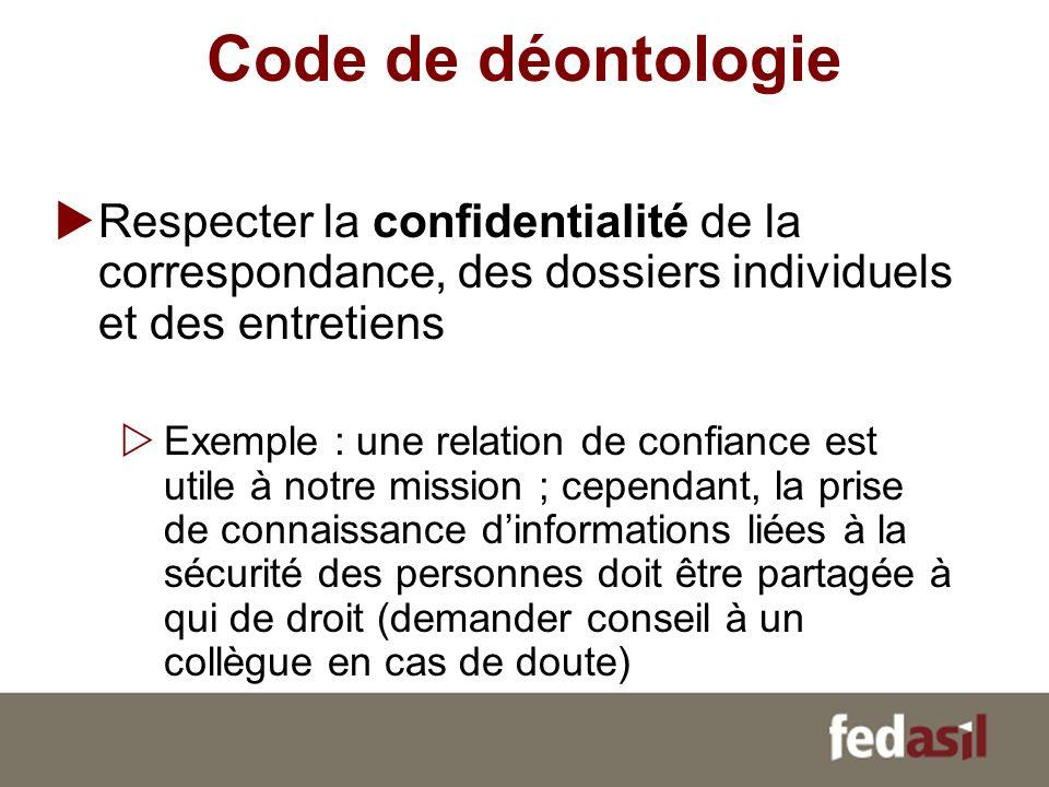 Code de déontologie Respecter la confidentialité de la correspondance, des dossiers individuels et des entretiens Exemple : une relation de confiance