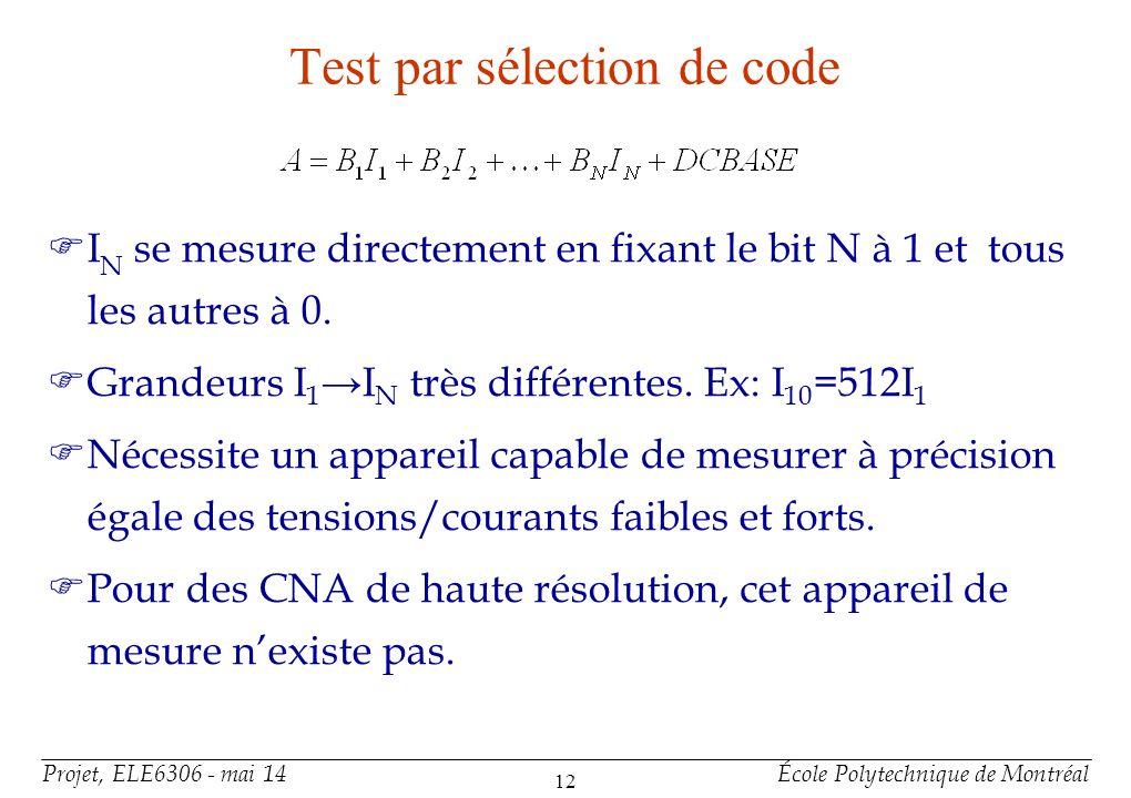 Projet, ELE6306 - mai 14École Polytechnique de Montréal 12 Test par sélection de code FI N se mesure directement en fixant le bit N à 1 et tous les au