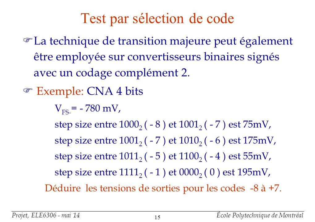 Projet, ELE6306 - mai 14École Polytechnique de Montréal 15 Test par sélection de code FLa technique de transition majeure peut également être employée