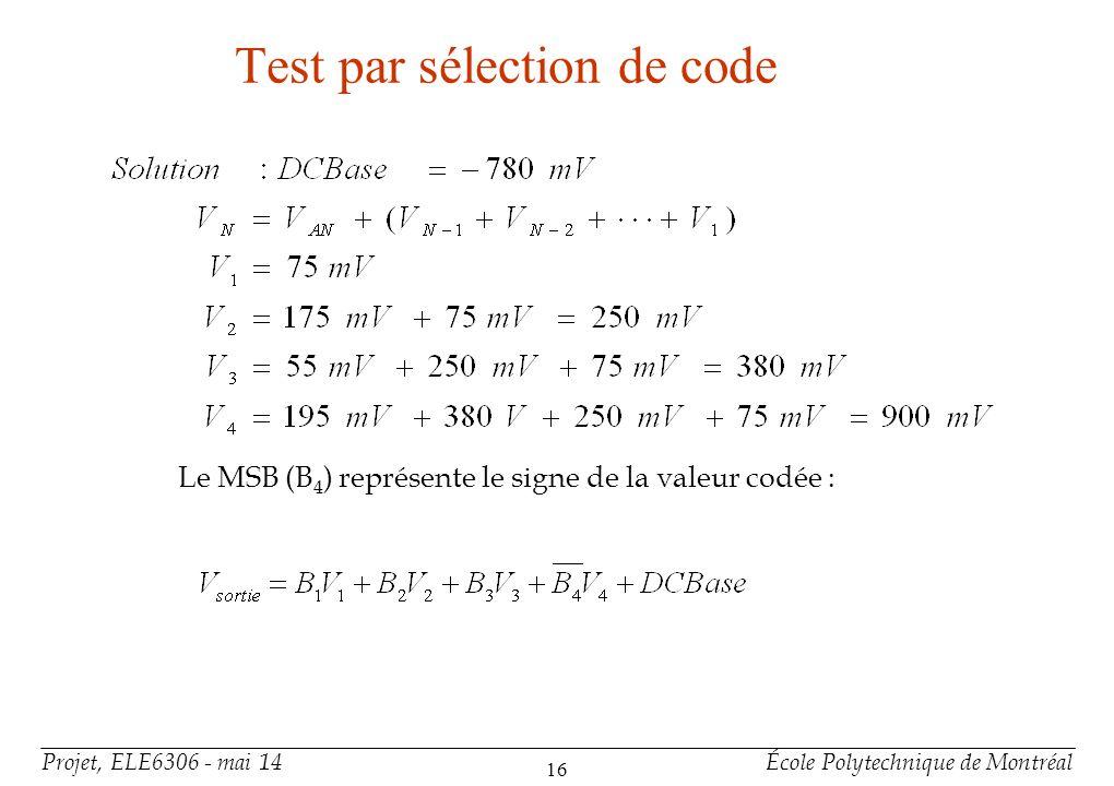 Projet, ELE6306 - mai 14École Polytechnique de Montréal 16 Test par sélection de code Le MSB (B 4 ) représente le signe de la valeur codée :