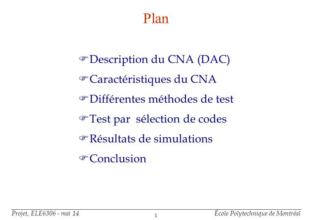 Projet, ELE6306 - mai 14École Polytechnique de Montréal 1 Plan Description du CNA (DAC) Caractéristiques du CNA Différentes méthodes de test Test par