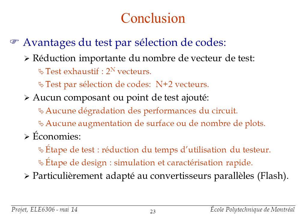 Projet, ELE6306 - mai 14École Polytechnique de Montréal 23 Conclusion F Avantages du test par sélection de codes: Réduction importante du nombre de ve