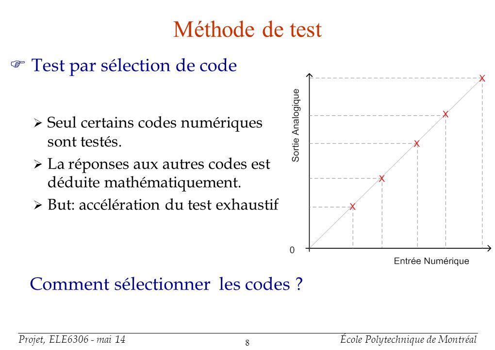 Projet, ELE6306 - mai 14École Polytechnique de Montréal 8 Méthode de test F Test par sélection de code Seul certains codes numériques sont testés. La