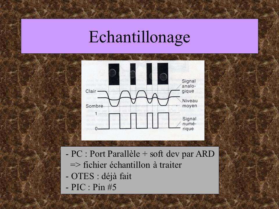 Echantillonage - PC : Port Parallèle + soft dev par ARD => fichier échantillon à traiter - OTES : déjà fait - PIC : Pin #5