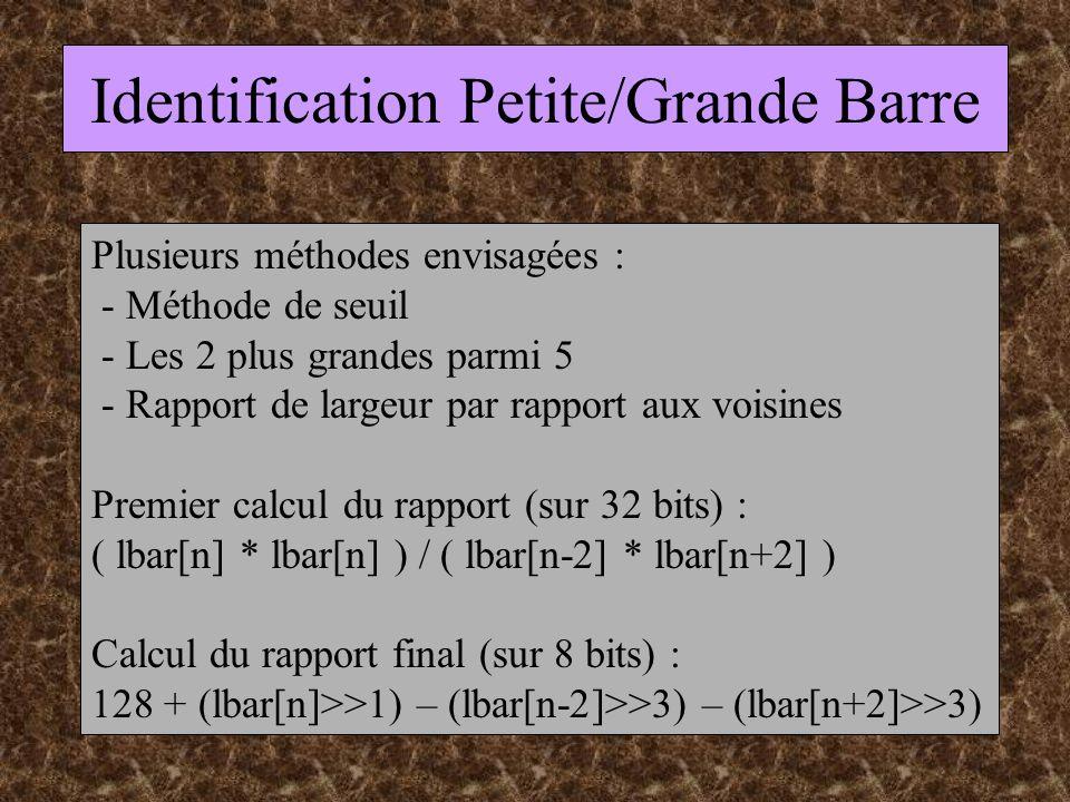 Identification Petite/Grande Barre Plusieurs méthodes envisagées : - Méthode de seuil - Les 2 plus grandes parmi 5 - Rapport de largeur par rapport aux voisines Premier calcul du rapport (sur 32 bits) : ( lbar[n] * lbar[n] ) / ( lbar[n-2] * lbar[n+2] ) Calcul du rapport final (sur 8 bits) : 128 + (lbar[n]>>1) – (lbar[n-2]>>3) – (lbar[n+2]>>3)