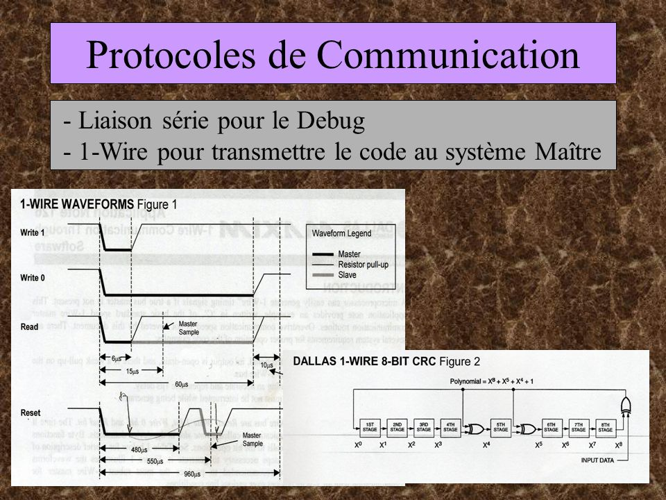 Protocoles de Communication - Liaison série pour le Debug - 1-Wire pour transmettre le code au système Maître