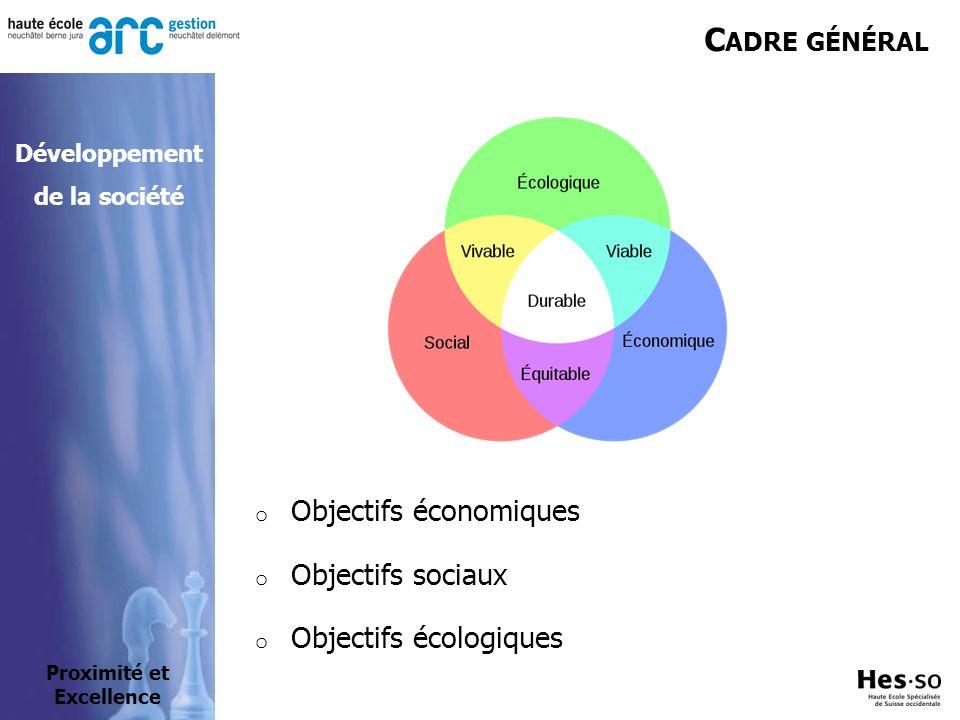 C ADRE GÉNÉRAL o Objectifs économiques o Objectifs sociaux o Objectifs écologiques Proximité et Excellence Développement de la société