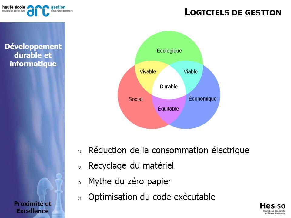 L OGICIELS DE GESTION o Réduction de la consommation électrique o Recyclage du matériel o Mythe du zéro papier o Optimisation du code exécutable Proximité et Excellence Développement durable et informatique