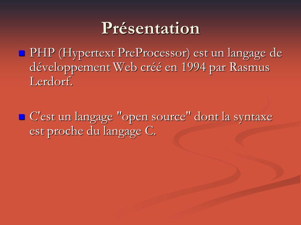 Présentation PHP (Hypertext PreProcessor) est un langage de développement Web créé en 1994 par Rasmus Lerdorf.
