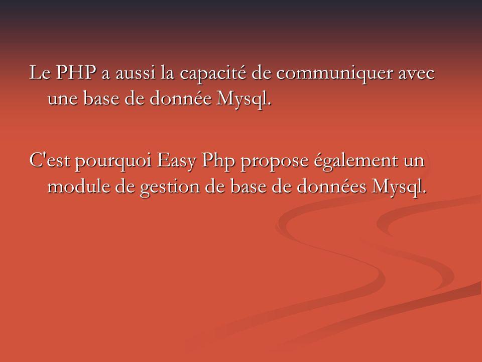 Le PHP a aussi la capacité de communiquer avec une base de donnée Mysql.