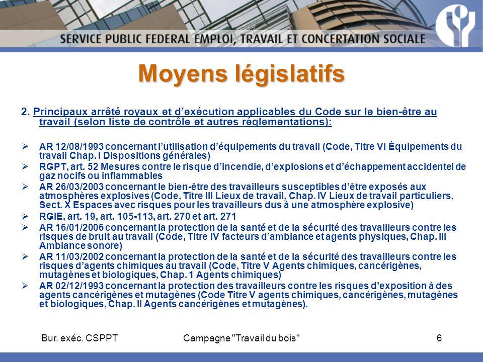 Bur. exéc. CSPPTCampagne Travail du bois 6 Moyens législatifs 2.