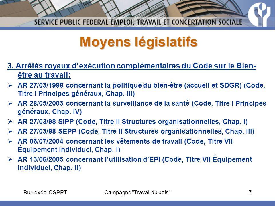 Bur. exéc. CSPPTCampagne Travail du bois 7 Moyens législatifs 3.