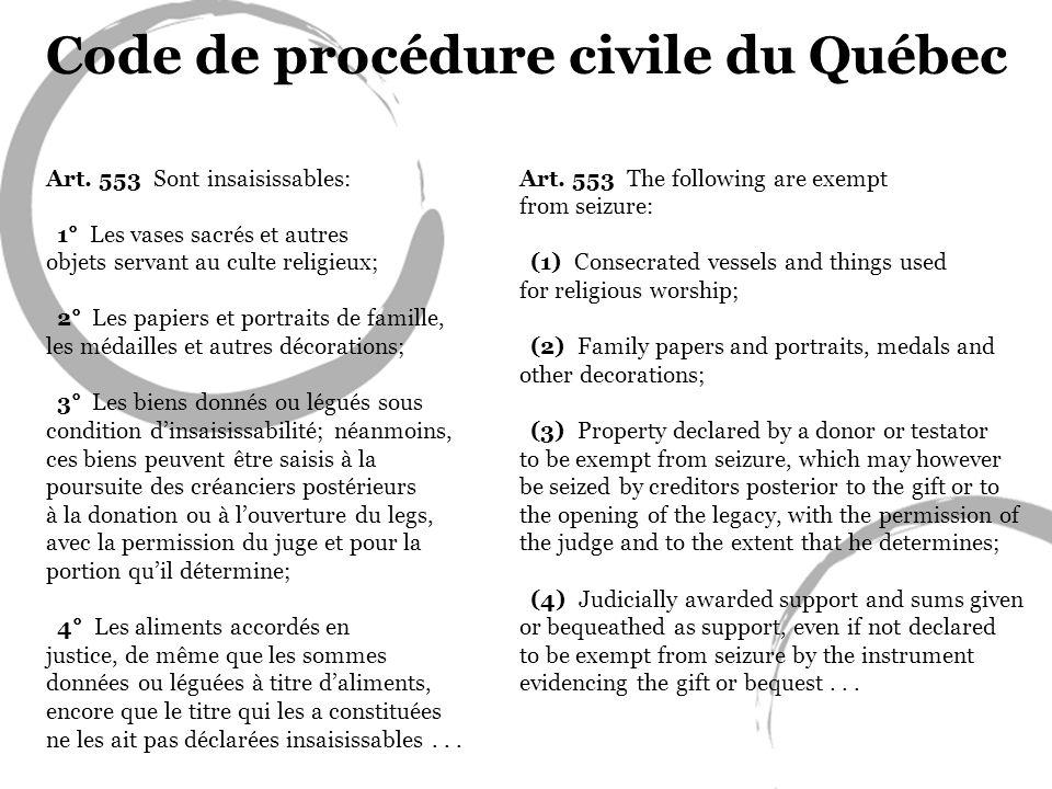 Code de procédure civile du Québec Art. 553 Sont insaisissables: 1° Les vases sacrés et autres objets servant au culte religieux; 2° Les papiers et po