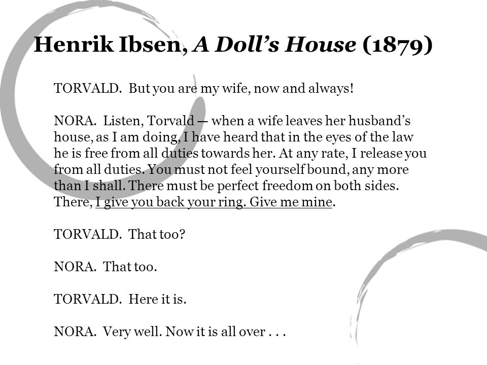 Henrik Ibsen, A Dolls House (1879) TORVALD.But you are my wife, now and always.