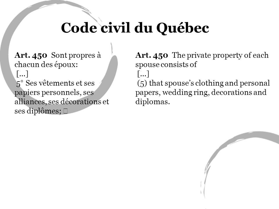 Art. 450 Sont propres à chacun des époux: […] 5° Ses vêtements et ses papiers personnels, ses alliances, ses décorations et ses diplômes; Code civil d