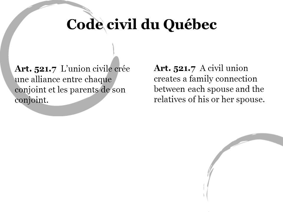 Code civil du Québec Art. 521.7 Lunion civile crée une alliance entre chaque conjoint et les parents de son conjoint. Art. 521.7 A civil union creates