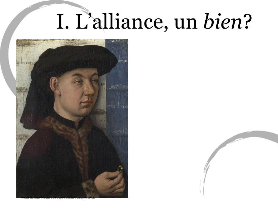 Jeune homme tenant une bague, milieu du 15e siècle. I. Lalliance, un bien?