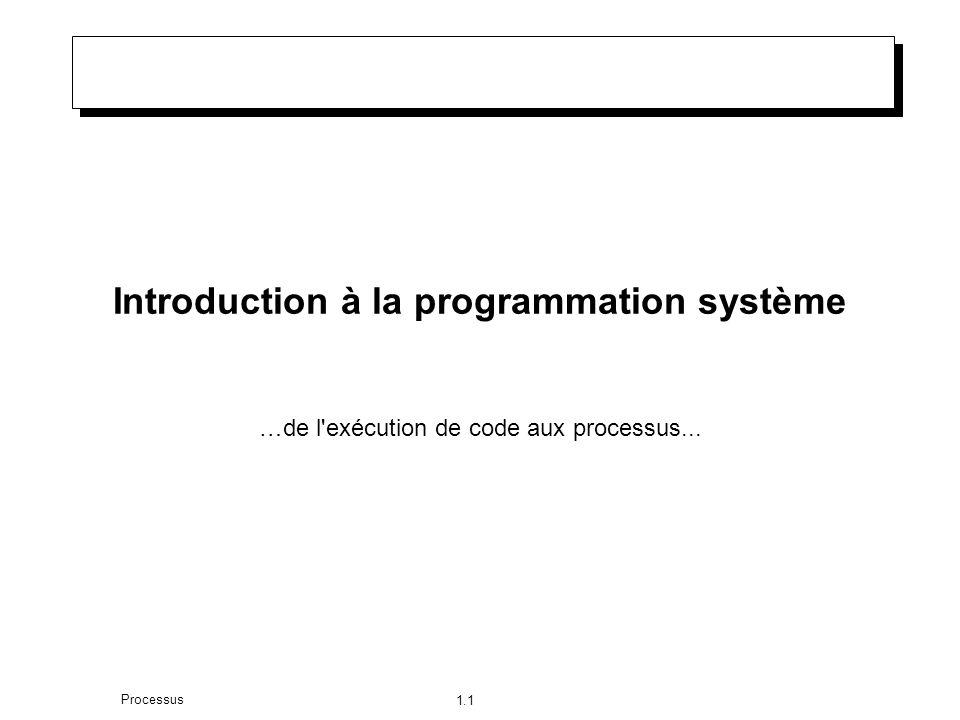 1.1 Processus Introduction à la programmation système …de l exécution de code aux processus...