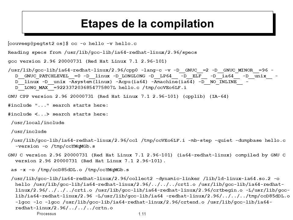 1.11 Processus Etapes de la compilation [ couveep@pegtst2 os]$ cc -o hello -v hello.c Reading specs from /usr/lib/gcc-lib/ia64-redhat-linux/2.96/specs gcc version 2.96 20000731 (Red Hat Linux 7.1 2.96-101) /usr/lib/gcc-lib/ia64-redhat-linux/2.96/cpp0 -lang-c -v -D__GNUC__=2 -D__GNUC_MINOR__=96 - D__GNUC_PATCHLEVEL__=0 -D__linux -D_LONGLONG -D__LP64__ -D__ELF__ -D__ia64__ -D__unix__ - D__linux -D__unix -Asystem(linux) -Acpu(ia64) -Amachine(ia64) -D__NO_INLINE__ - D__LONG_MAX__=9223372036854775807L hello.c /tmp/ccVEo6LF.i GNU CPP version 2.96 20000731 (Red Hat Linux 7.1 2.96-101) (cpplib) (IA-64) #include ... search starts here: #include search starts here: /usr/local/include /usr/include /usr/lib/gcc-lib/ia64-redhat-linux/2.96/cc1 /tmp/ccVEo6LF.i -mb-step -quiet -dumpbase hello.c -version -o /tmp/ccYMqMGb.s GNU C version 2.96 20000731 (Red Hat Linux 7.1 2.96-101) (ia64-redhat-linux) compiled by GNU C version 2.96 20000731 (Red Hat Linux 7.1 2.96-101).