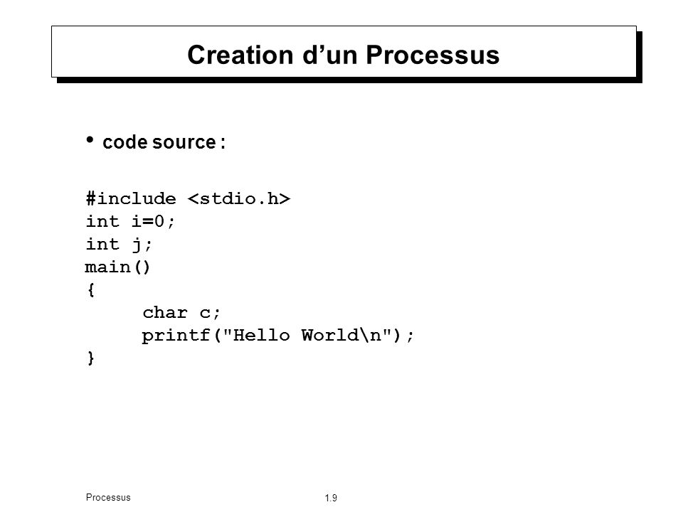 1.9 Processus Creation dun Processus code source : #include int i=0; int j; main() { char c; printf( Hello World\n ); }