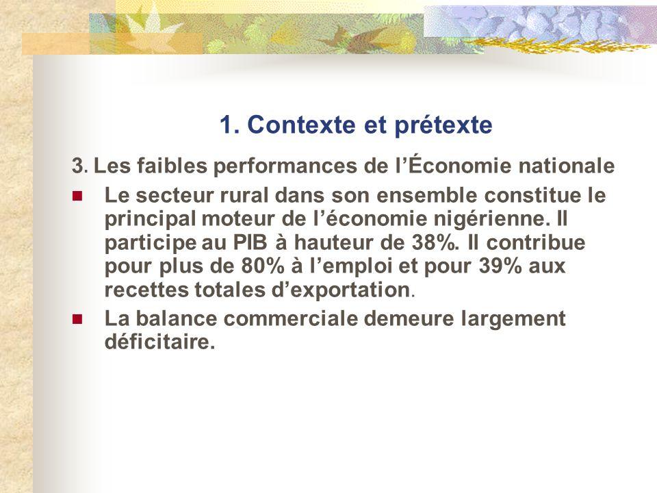 1. Contexte et prétexte 3. Les faibles performances de lÉconomie nationale Le secteur rural dans son ensemble constitue le principal moteur de léconom