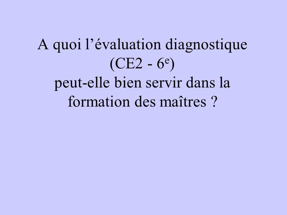 A quoi lévaluation diagnostique (CE2 - 6 e ) peut-elle bien servir dans la formation des maîtres
