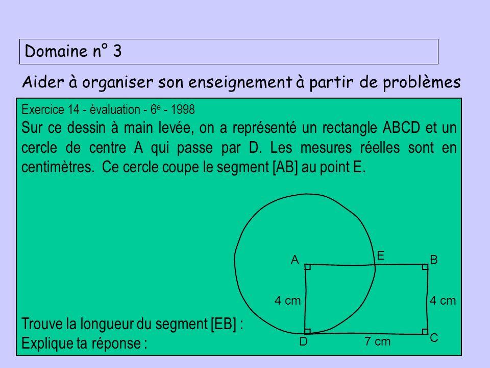 Domaine n° 3 Aider à organiser son enseignement à partir de problèmes Exercice 14 - évaluation - 6 e - 1998 Sur ce dessin à main levée, on a représenté un rectangle ABCD et un cercle de centre A qui passe par D.
