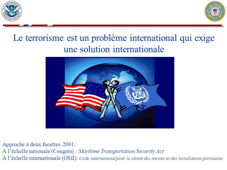 Le terrorisme est un problème international qui exige une solution internationale Approche à deux facettes 2001: À léchelle nationale (Congrès) : Mari