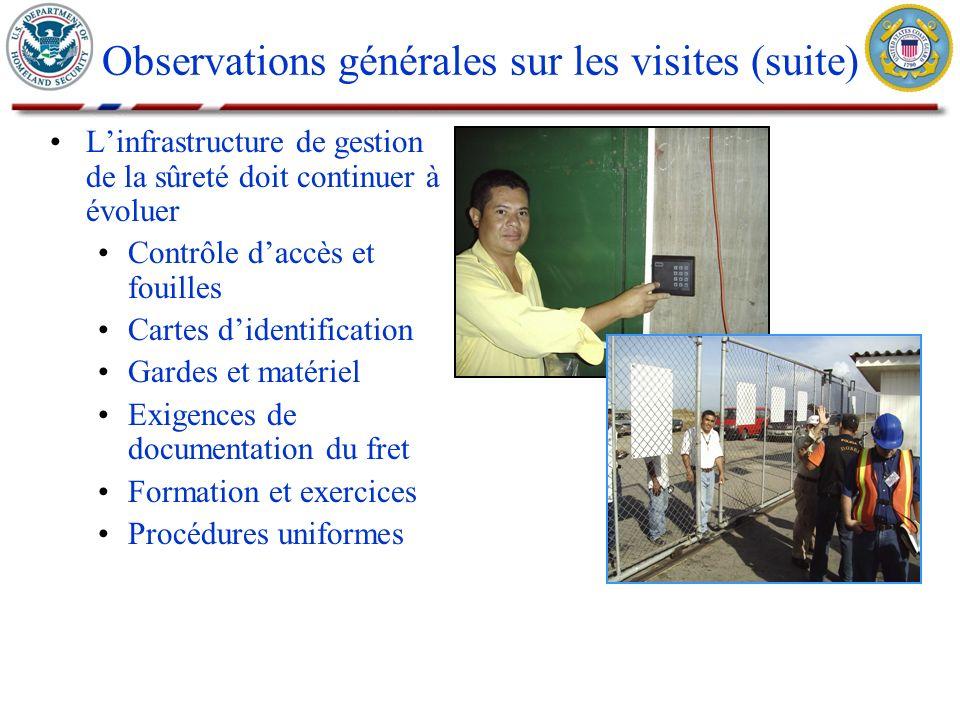 Linfrastructure de gestion de la sûreté doit continuer à évoluer Contrôle daccès et fouilles Cartes didentification Gardes et matériel Exigences de do