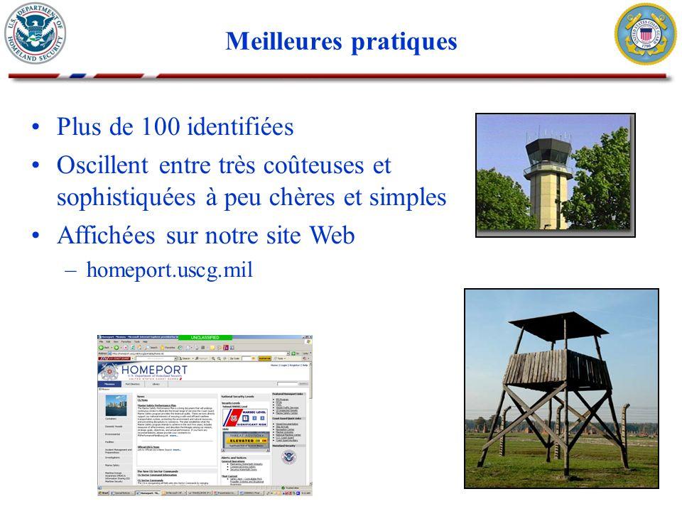 Meilleures pratiques Plus de 100 identifiées Oscillent entre très coûteuses et sophistiquées à peu chères et simples Affichées sur notre site Web –hom