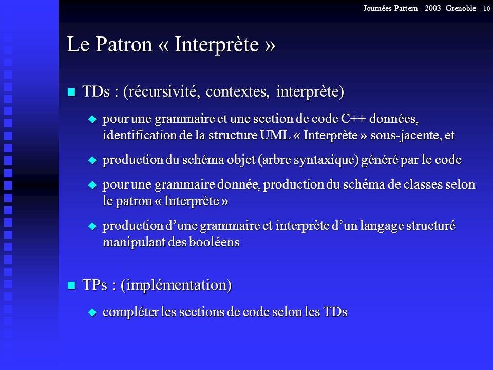 Journées Pattern - 2003 -Grenoble - 10 Le Patron « Interprète » n TPs : (implémentation) n TDs : (récursivité, contextes, interprète) u compléter les
